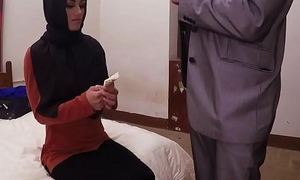 Dicksucking arab beauty bouncing on obese cock