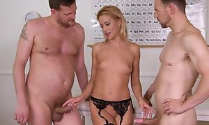 Nice cute office worker plays with her pussy in the air black stockings and being fucked by 2 studs